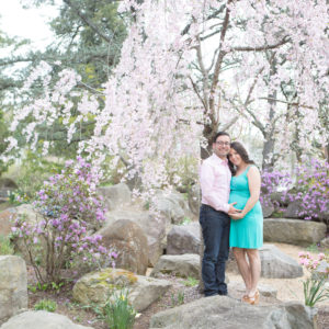Maternity Session in Cherry Blossoms at Sayen Gardens {Hamilton, NJ Photographer}