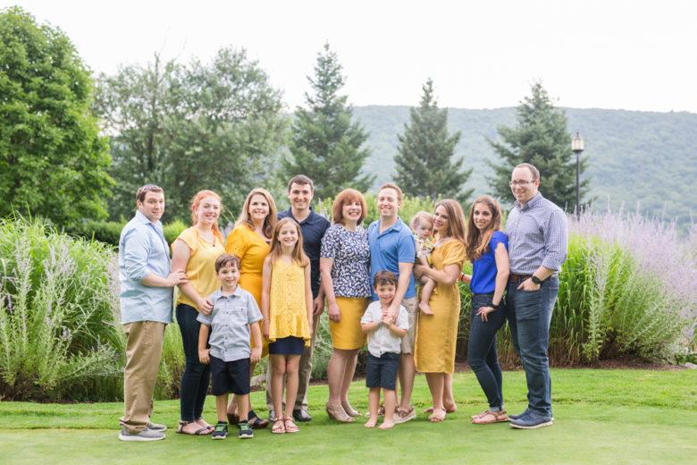 extended family portrait outside